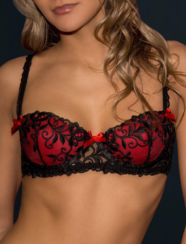 Peche red/black padded bra. Made in France 36B