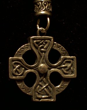 Pewter Celtic Stone Hand Cast  Pendant with Bead and Cord