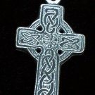 "Pewter Celtic Cross 2 1/4"" Hand Cast Pendant with Bead and Cord"
