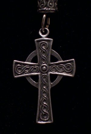 "Pewter Celtic Cross 1 1/4"" x 1""  Hand Cast Pendant with Bead and Cord"