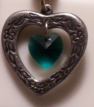 May Birthstone Heart Pendant