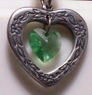 August Birthstone Heart Pendant