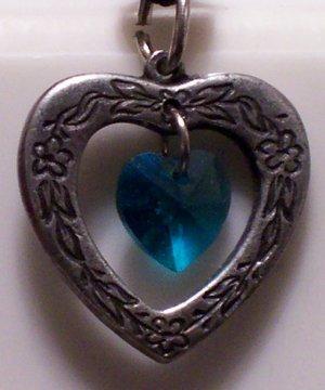 December Birthstone Heart Pendant