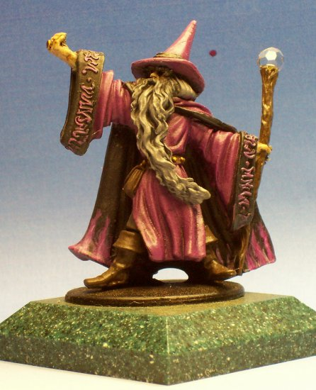 Hand Painted Wizard with Purple and Black Robes