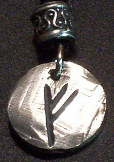 Pewter Rune Pendant- Fehu- Prosperity, Luck, Abundance