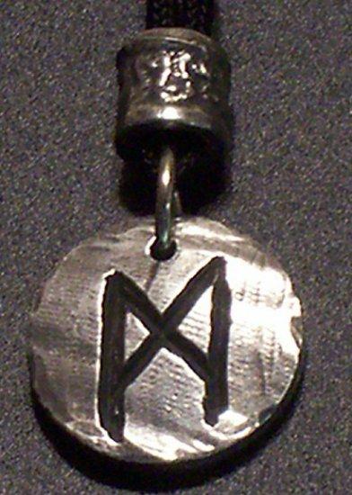 Pewter Rune Pendant- Mannaz- Humankind, Friends