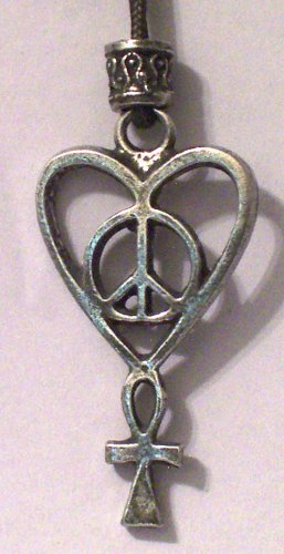 Hand Cast Pewter Love, Peace, Life Pendant