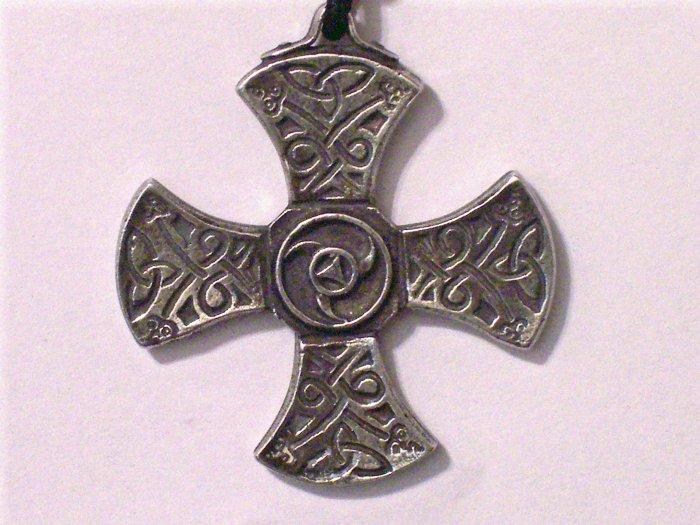 Hand Cast Pewter Celtic Triscal Cross Pendant
