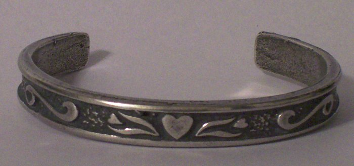 Hand Cast Pewter Bracelet with Scrolling and Heart Detail