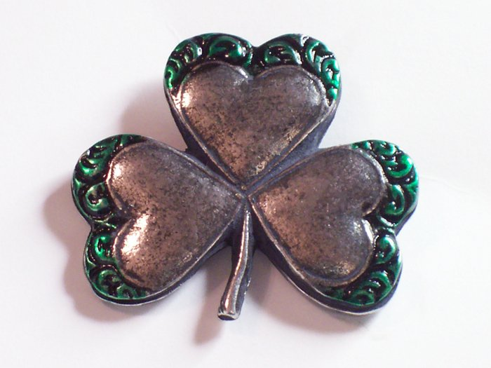 Hand Cast Pewter Shamrock Pin with Hand Painted Details