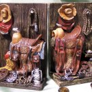 Western Cowboy Bookends Saddle