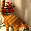Large Cast Iron Cat Doorstop Yellow Tabby
