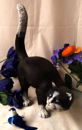 Large Cast Iron Cat Doorstop Black & White