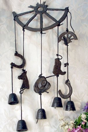 Western style Wind Chimes Broken Wheel with Bells