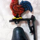 Rooster With Blue Tail Bell Cast Iron