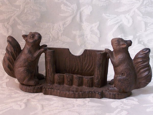 Cast Iron Squirrel Business Card Holder
