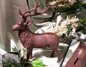 Cast Iron Deer Bank RUST Color