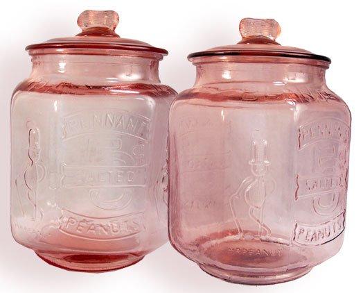 Pink Glass Peanut Jar