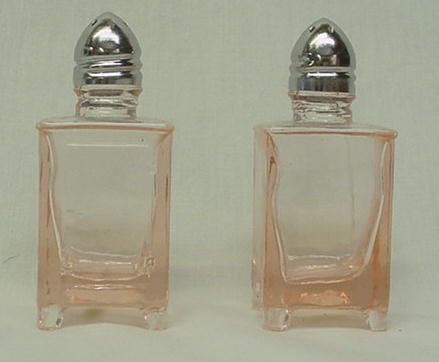 Pink Glass Refrigerator Salt and Pepper