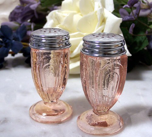 Fancy Pink Glass Salt & Pepper Set