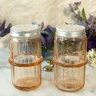 Pink Hoosier Glass Salt and Pepper