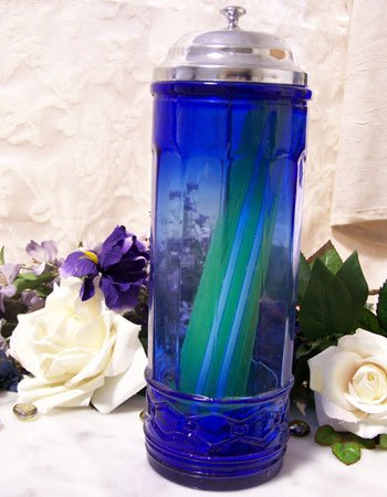 Colbolt Blue Glass Strawholder