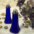 COLBOLT BLUE DEPRESSION GLASS FLORAL SALT & PEPPER