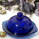 Colbolt Blue Glass Round Butter Dish