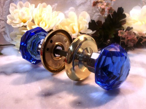 COBALT BLUE SOLID Crystal Door Knobs