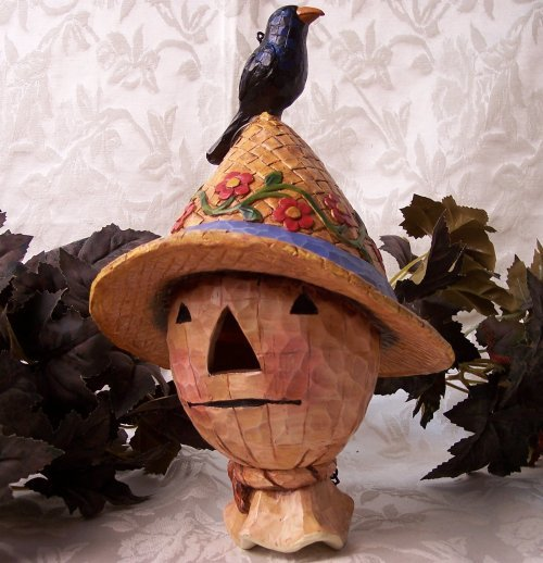 Jim Shore Scarecrow Head Birdhouse with Crow