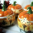 Jim Shore SET 4 Pumpkin Soup Bowls