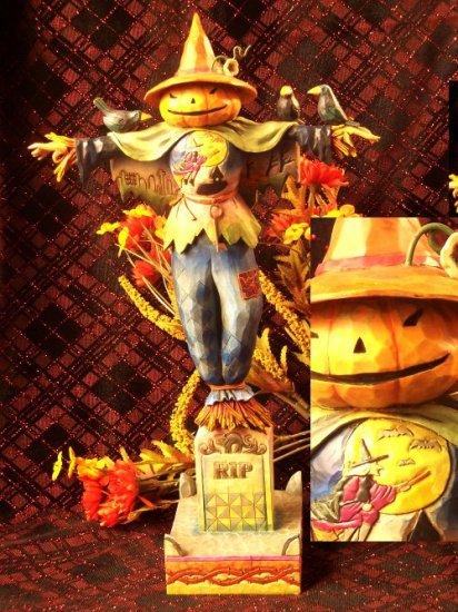 Jim Shore Pumpkin Scarecrow On Tombstone