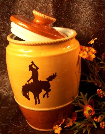 Western Silhouette Large Cookie Jar