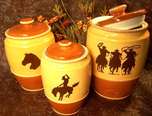 Set of 3 Western Silhouette Canister