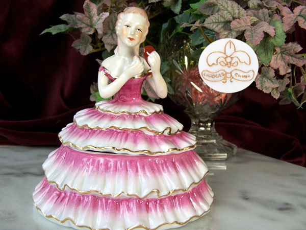 Powder Box Girl Pink Limoges China