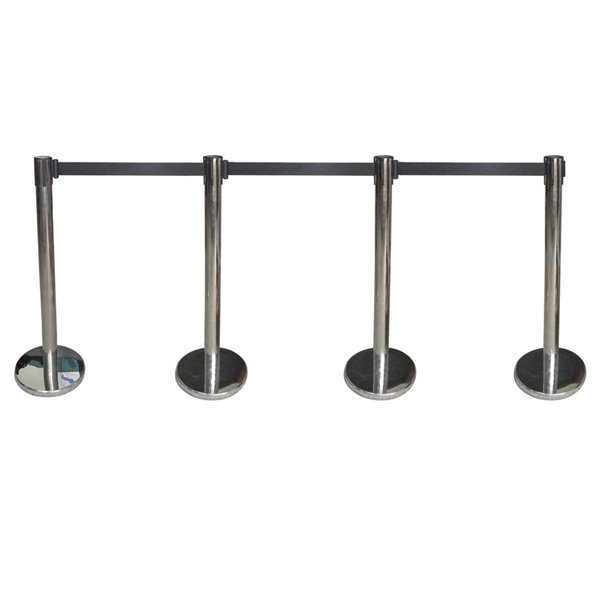 4 Pack Stainless Pratical Crowd Control Retractable Queue Barriers w/ Belt