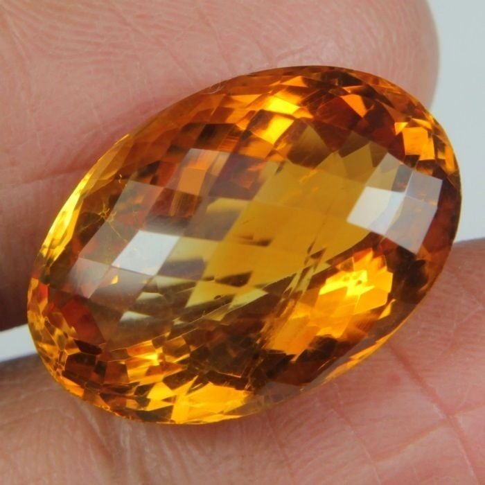16.60 CARAT SPARKLING NATURAL EARTH MINED AFRICAN CITRINE GEMSTONE OVAL CHECKER