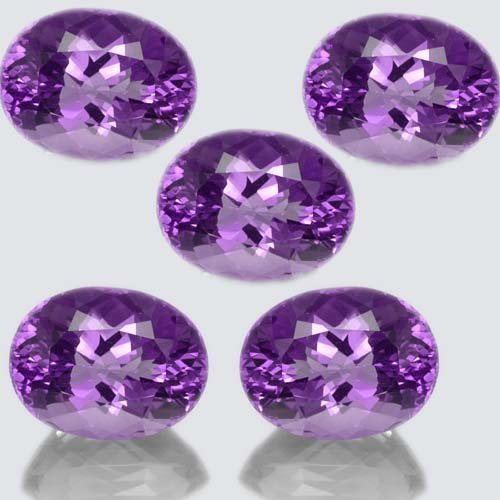 Certified  Natural Amethyst AA Quality 8x10 mm faceted Oval 5 pcs
