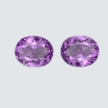 Certified  Natural Amethyst AA Quality 7x9 mm faceted Oval 1 pair 2 pcs