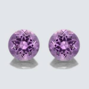 Certified Natural Amethyst AA Quality 10 mm faceted Round 1 pair 2 pcs