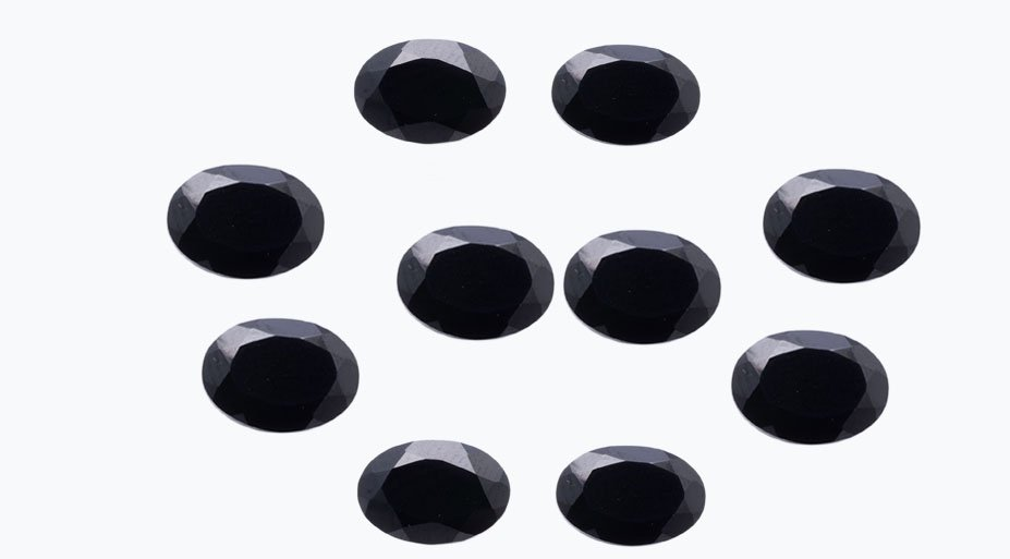Certified Natural Black Spinel AAA Quality 9x7 mm faceted Oval 50 pcs lot