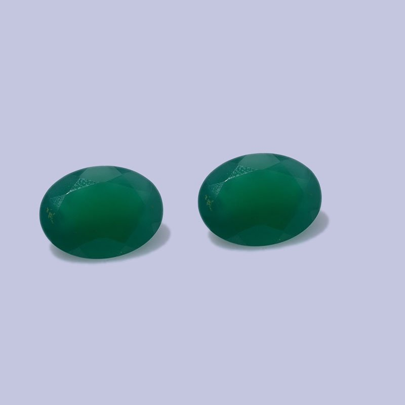 Certified Natural Green Onyx AAA Quality 16x12 mm faceted Oval 2 pcs Pair