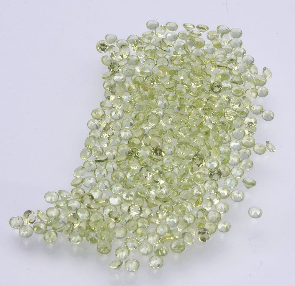 Certified Natural Peridot AAA Quality 1.25 mm Faceted Round 50 pcs lot