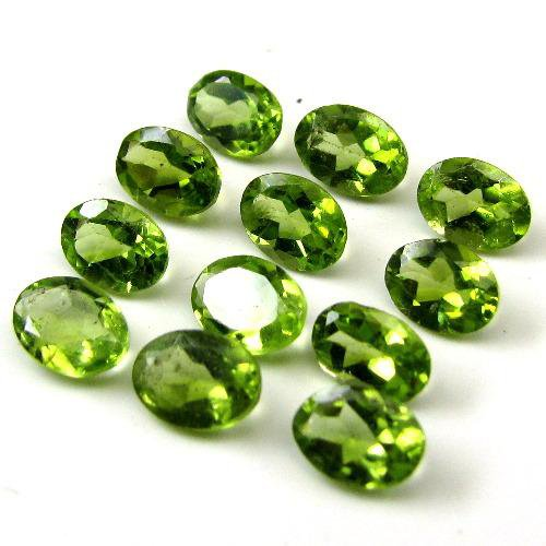 Certified Natural Peridot AAA Quality 6x4 mm Faceted Oval 2 pcs pair