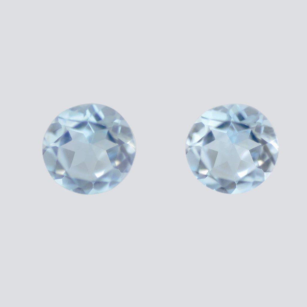 Certified Natural Sky Blue Topaz AAA Quality 6 mm Faceted Round 2 pcs pair