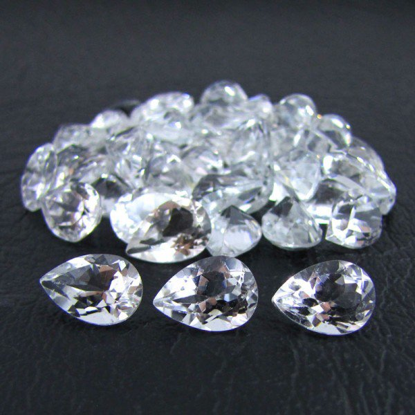 Certified Natural White Topaz AAA Quality 5x3 mm Faceted Pear 10 pcs lot