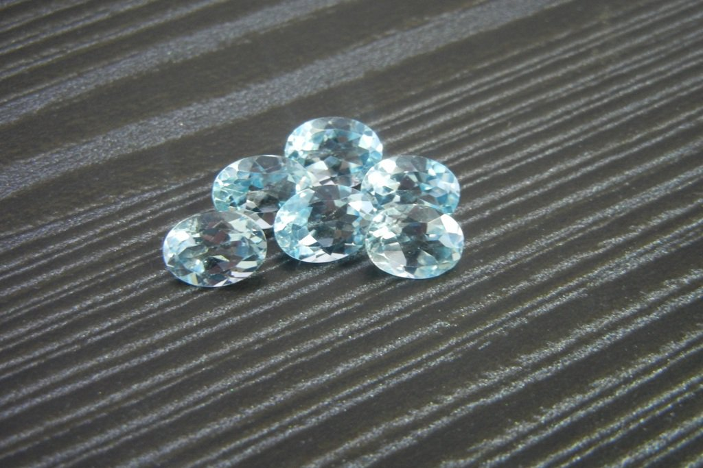 Certified  Natural Sky Blue Topaz AAA Quality 10x8 mm Faceted Oval 5 pcs lot