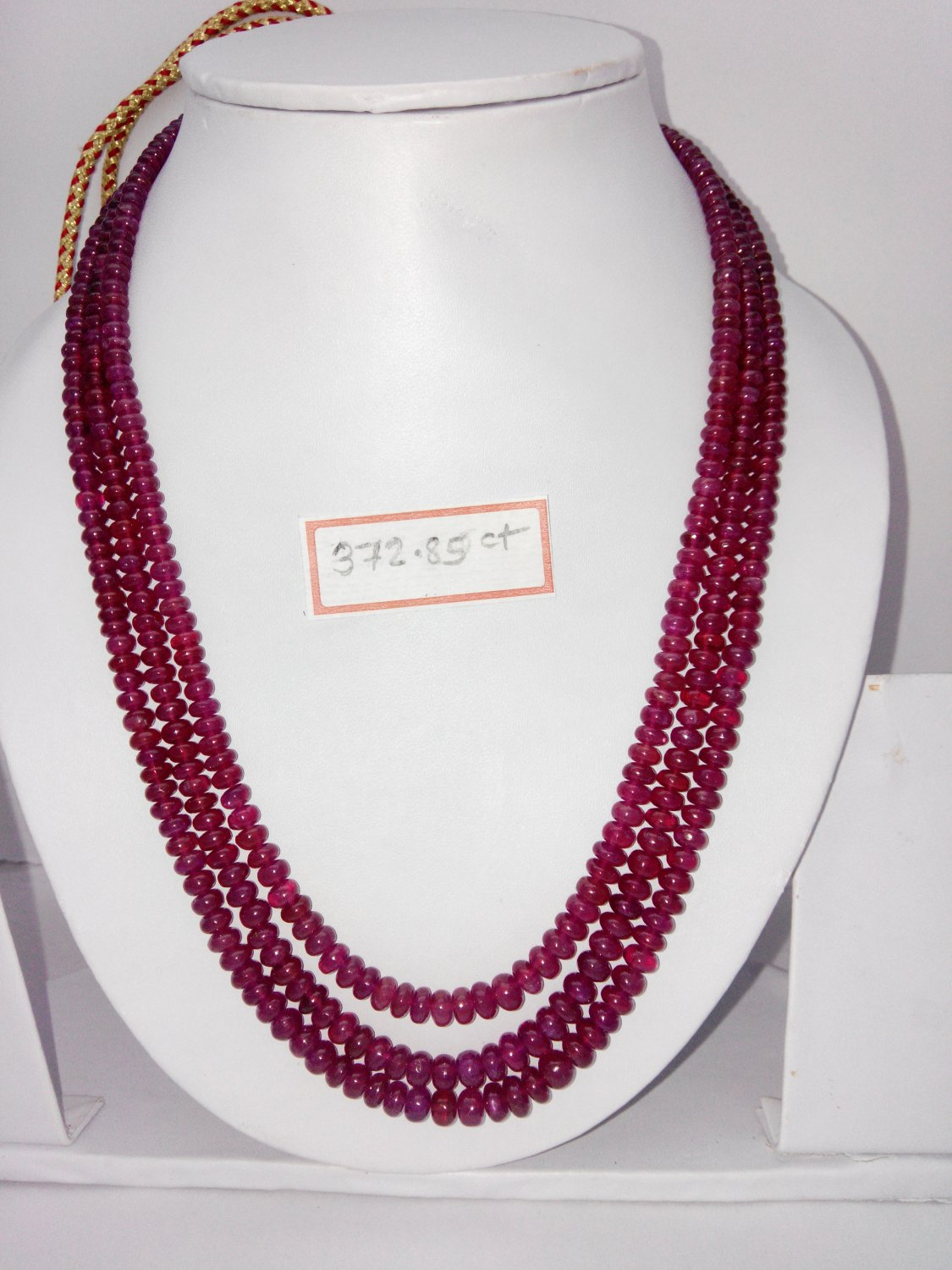 Fissure Filled Ruby necklace of 372.85 cts Fancy Round Beads plane Polish