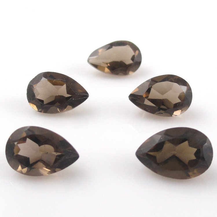 Certified Natural Smoky Quartz AAA Quality 8x6 mm Faceted Pears Shape 25 pc lot Loose Gemstone