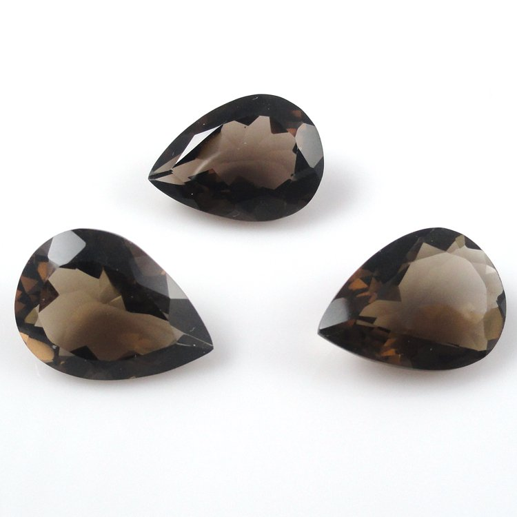 Certified Natural Smoky Quartz AAA Quality 20x15 mm Faceted Pears Shape 10 pc lot Loose Gemstone
